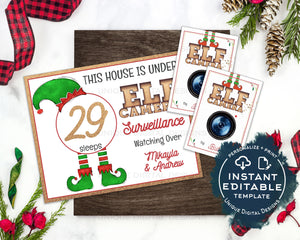 Editable Elf Surveillance Kit, This House is under Elf Surveillance Sign, Personalized Christmas Elf Props Marquee Printables INSTANT ACCESS