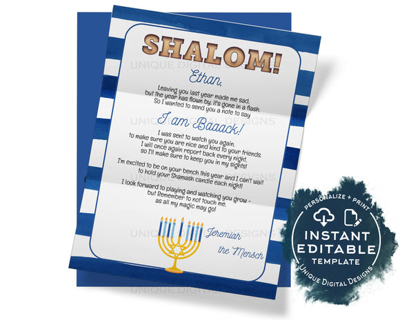 Editable Mensch Arrival Letter, Hanukkah Personalized Shalom Welcome Letter, Custom Letter Jewish Chaunkah Printable Template INSTANT ACCESS