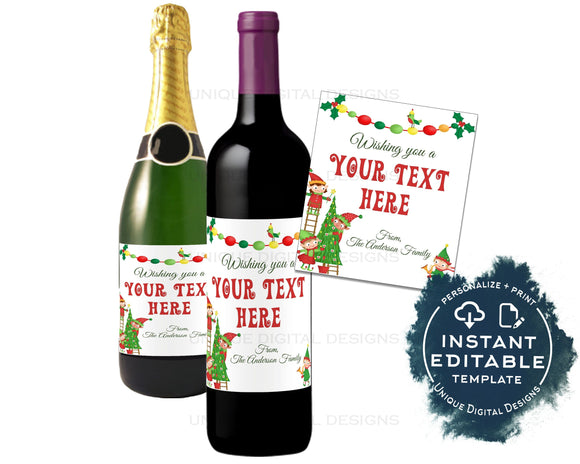 Editable Wine Bottle Christmas Gift, Personalized Holiday Wine Labels, Printable Wine Sticker Champagne Gold, Gift for Adults INSTANT ACCESS