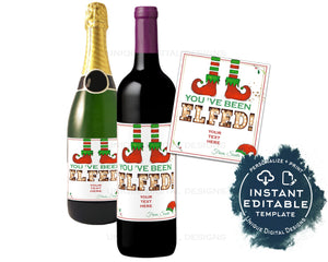 Editable You've Been Elfed Wine Bottle Christmas Gift, Elf Personalized Holiday Wine Labels Printable Wine Gift for Adult diy INSTANT ACCESS