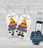 Editable Halloween Favor Tags, Personalized Halloween Tags Trick or Treat Thank You Printable, Kids Birthday Gift Tags Spooky INSTANT ACCESS