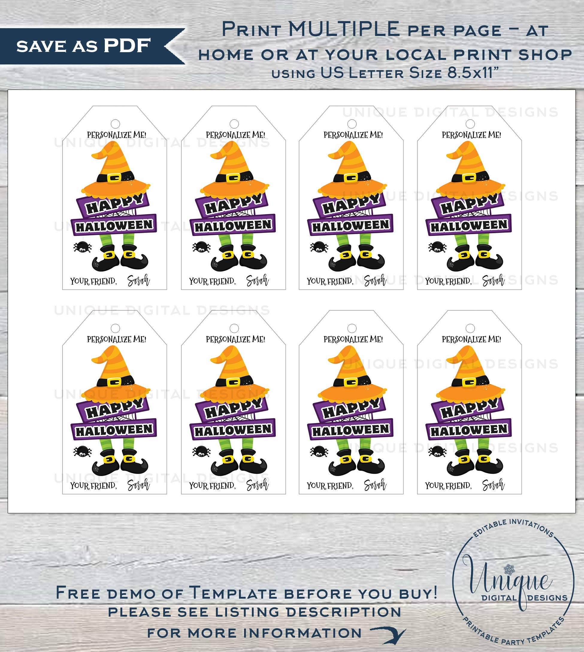 It is a picture of Halloween Gift Tags Printable with boyfriend printable