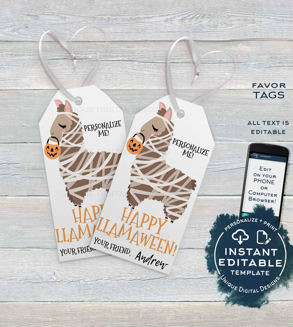 Editable Halloween Favor Tags, Costume Llamaween Personalized Halloween Tags, Trick or Treat Thank You Printable, Kids Gifts INSTANT ACCESS