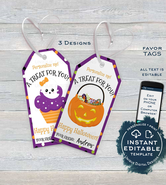 Editable Halloween Favor Tags, Personalized Halloween Tags Trick or Treat Thank You, diy Sweet Birthday Printable Gift Tags INSTANT ACCESS
