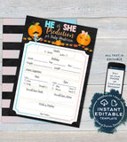 Editable Gender Reveal Prediction Card, Personalized Little Pumpkin Baby Shower Games, Printable Game Board Blank, diy Custom INSTANT ACCESS