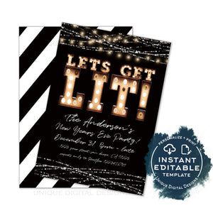 Editable Let's Get Lit New Years Eve Party Invitation, Lets Get Drunk Holiday Party Celebrate Marquee Lights, Printable Adult INSTANT ACCESS