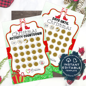 Editable Elf Advent Calendar Scratch Off, Personalized Elf Activity Calendar Printable Countdown to Christmas Advent Calendar INSTANT ACCESS