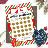 Editable Scratch Off Elf Countdown to Christmas Advent Calendar, Personalized Elf Activity Calendar Printable Advent Calendar INSTANT ACCESS