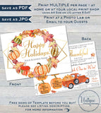 Printable Rodan and Happy Holiday Cards, Editable Fall Thanksgiving MLM Skincare Scratch Off, Thanks Preferred Customer Gift INSTANT ACCESS