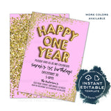 Happy One Year Birthday Invitation, Editable New Years Eve Party, First Birthday Party, Glitter Printable Template diy INSTANT ACCESS 2020