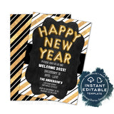 New Years Eve Invitation Celebration Invite, Editable 2020 New Years Eve Party Glitter Champagne Printable Personalized INSTANT ACCESS 5x7