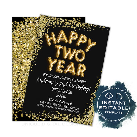Happy Two Year Birthday Invitation, Editable 2020 New Years Eve Party, 2nd Birthday Party, Glitter Printable Template INSTANT ACCESS 5x7