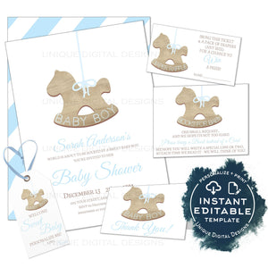 Editable Rustic Baby Boy Shower Invitation Kit, Sweet Baby Elegant Christmas Ornament, Personalized Baby Sprinkle Printable INSTANT ACCESS