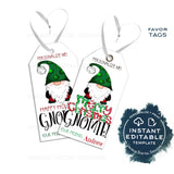 Editable Merry Christmas Gnomie Gift Tags, Personalized Holiday Tags Hangin' with Kids Gift Label Present Printable Favor Tag INSTANT ACCESS