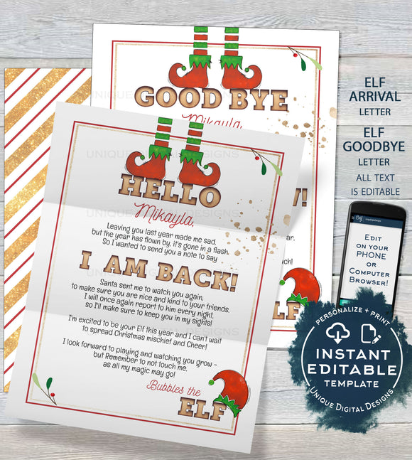 Editable Elf Letter, Elf Goodbye Letter, Personalized Christmas Santa Letter, Welcome Flyer Prop Elf Arrival Letter Printable INSTANT ACCESS