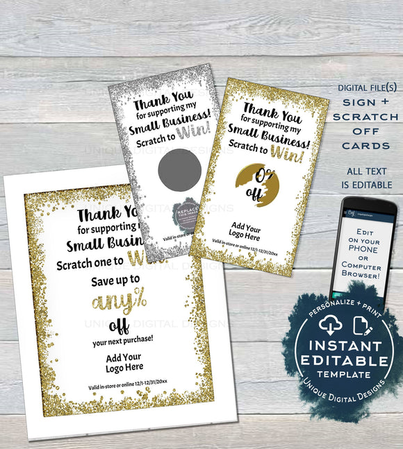 Editable Scratch Off Cards, Printable Scratch to Win Small Business Branding, Saturday Scratch Off, Customer Christmas Gifts INSTANT ACCESS