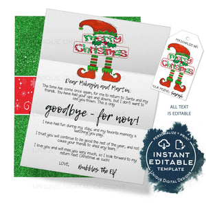 Editable Elf Goobye Letter, Elf Farewell Letter, Personalized Santa Letter, Christmas Elf on the Letter Printable Gift Tags INSTANT ACCESS