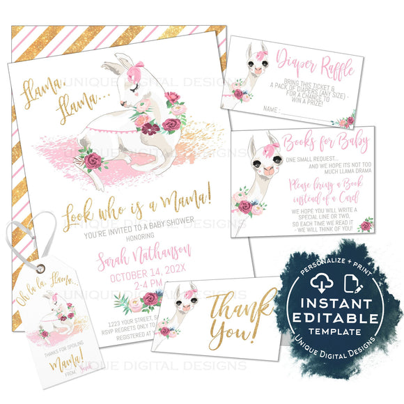 Editable Llama Baby Shower Invitation Kit, Llama Llama Mama Baby Girl Floral Watercolor, Personalized Baby Sprinkle Printable INSTANT ACCESS
