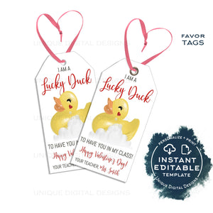 Teachers Editable Valentine Lucky Duck Tags, Rubber Ducky Valentine Gift Tag, Personalized Non Candy Favor Printable School INSTANT ACCESS