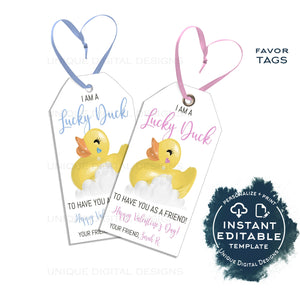 Editable Valentine Lucky Duck Tags, Kid Friend Rubber Ducky Valentine Gift Tag, Personalized Non Candy Favor Printable School INSTANT ACCESS