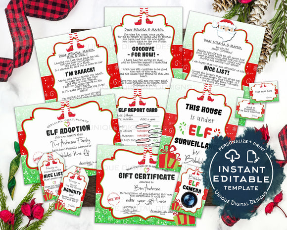 Editable Elf Activity Kit, Personalized Elf Welcome Letter, Christmas Elf Props, Surveillance Arrival Goodbye Report Card diy INSTANT ACCESS
