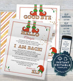 Editable Elf Kit, Personalized Elf Welcome Letter, Christmas Elf Props, Surveillance Arrival Goodbye Report Card Marquee Sign INSTANT ACCESS