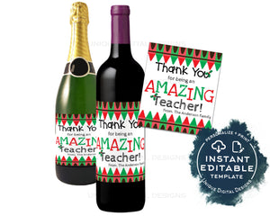 Editable Teacher Appreciation Christmas Gift, Wine Bottle Label Wine Label Sticker Champagne Gift for Teacher Staff Printable INSTANT ACCESS