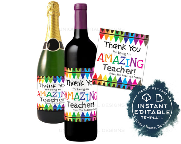Teacher Appreciation Wine Bottle Label, Editable Wine Label Sticker Champagne Gift for Teacher Staff Avery Custom Printable INSTANT ACCESS