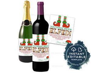 Editable You've Been Elfed Wine Bottle Christmas Gift, Elf Personalized Holiday Wine Labels Printable Wine Gag Gift for Adult INSTANT ACCESS