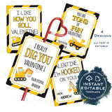Construction Valentine Cards, Kids Editable Valentines Day from boy, Personalized Classroom Favor Tags Printable Template Dig INSTANT ACCESS
