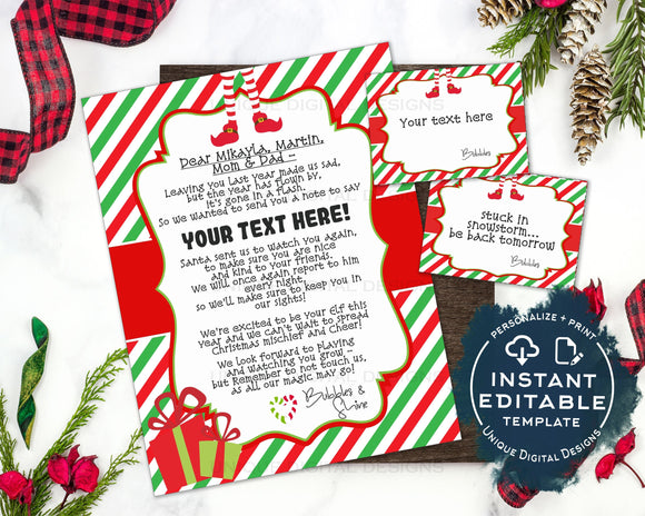 Editable Elf Arrival Letter, Elf Welcome Letter, Custom Santa Letter We are Back Christmas Elves Letter Printable Excuse Note INSTANT ACCESS