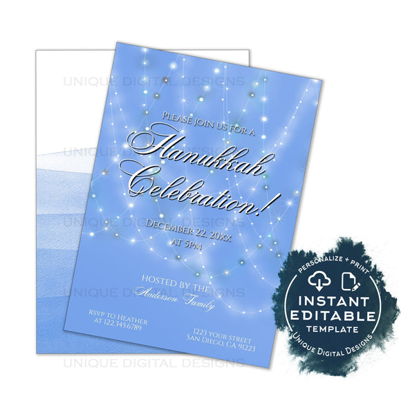 Editable Hanukkah Invitation, Chanukah Celebration Party Invite, Personalized Hanukkah Lights, Blue Menorah Dreidel Printable INSTANT ACCESS