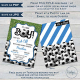 Editable Soccer Baby Shower Invitation, Kick Off Baby Boy Invite, Team Soccer Theme, Printable Thank You Diaper Raffle Books INSTANT ACCESS