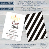 Editable New Years Eve Invitation, Pop Fizz Clink Have a Drink New Years Party, Adult Party, Printable Sparkler Template INSTANT ACCESS 2020