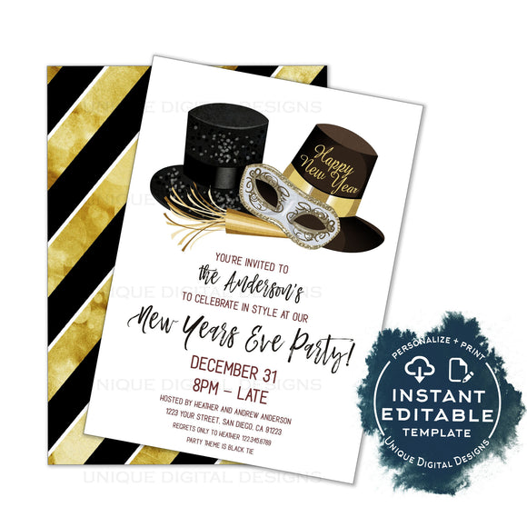 Editable New Years Eve Invitation, 2020 New Years Eve Party, Black Tie Birthday Party, Ring in Champagne, Printable Template INSTANT ACCESS
