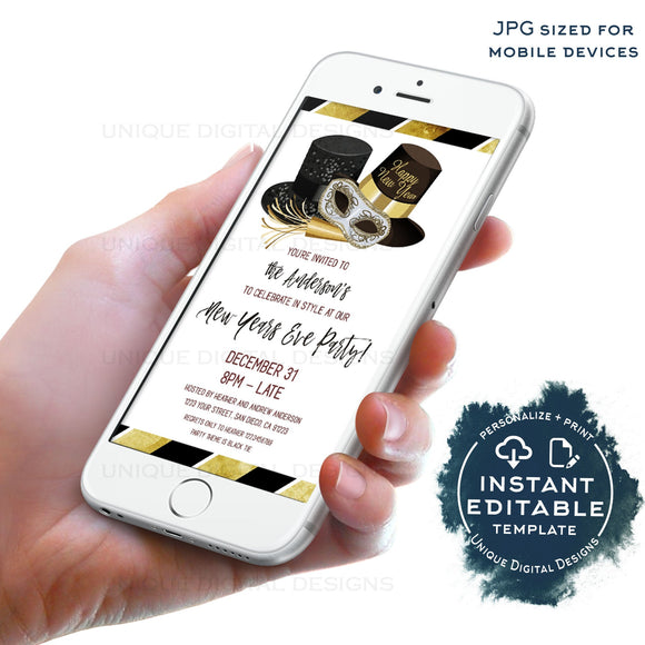 Editable New Years Eve Electronic Invitation, 2020 New Years Eve Party, Black Tie Birthday Party Digital Smart phone Template INSTANT ACCESS