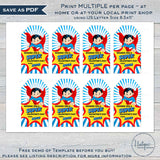 Valentines Superhero Gift Tags, Editable Boys Super Non Candy Valentine Card, Kids Class School Teacher Staff Printable Favor INSTANT ACCESS