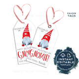 Editable Hangin' with my Gnomies Valentine's Gift Tags, Personalized Valentine Kids Gift Label, Present Printable Favor Tag INSTANT ACCESS