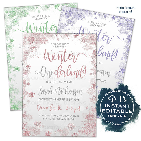 Editable Winter Onederland Invitation, First Birthday Invite Girl Winter Wonderland Party 1st Birthday Printable Personalized INSTANT ACCESS