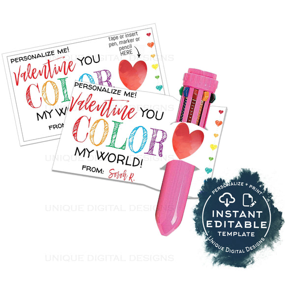 Valentine's Gift Tags, Editable You Color My World, Shuttle Pen Valentine Card,  Non Candy Kids Class School Teacher Printable Favor INSTANT