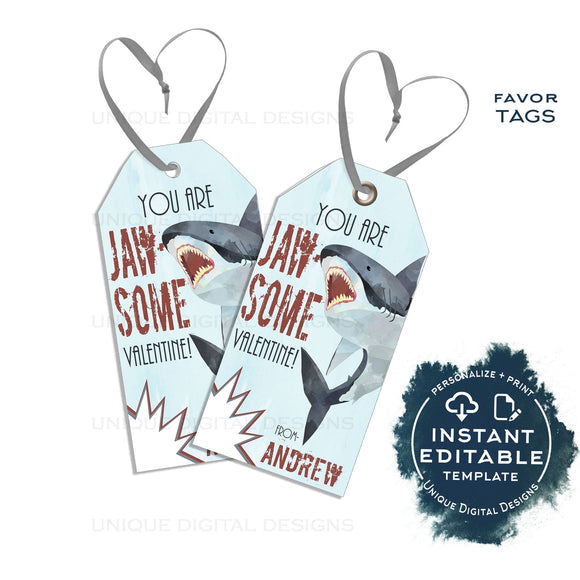 Editable Valentines Favor Tag, Jawsome Shark Valentine Tags, Jaw-some Favor Tag, Shark Week, Shark Bite Non Candy Printable, INSTANT ACCESS