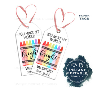 Editable Valentine's Crayon Gift Tags, Make the World Bright Non Candy Valentine Card Kid Class School Teacher Staff Printable Favor INSTANT