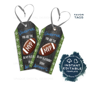 Editable Football Valentines Favor Tag, MVP Boys Valentine Tags, Football Favor Tag Sport Theme Non Candy Valentine Printable INSTANT ACCESS