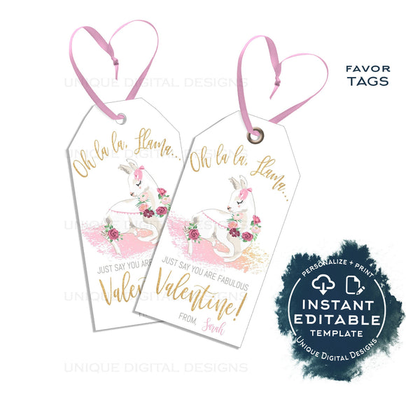 Editable Llama Valentines Gift Tags, Llama Say You Are Fabulous Valentine Card Kid Class School Teacher Staff Printable Favor INSTANT ACCESS