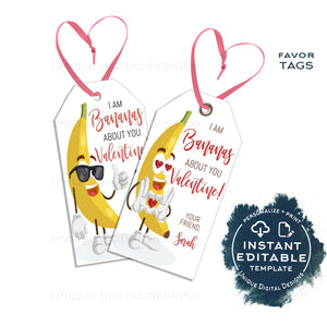 Editable Bananas About You Valentine Gift Tags, Girls or Boys Silly Valentine Card, Kids School Personalized Printable Favor INSTANT ACCESS
