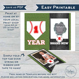 First Birthday Baseball Banner, Editable Baseball 1st Year Photo Banner Bunting Flags, Birthday Boy Decor Printable Template INSTANT ACCESS