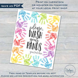 Editable Wash Your Hands Sign Printable for Kids, Personalized Teachers Classroom Decorations, Art Handprint School Clean PTA INSTANT ACCESS