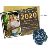 Graduation Invitation, Editable Senior Photo Grad Announcement Card Gold Class of 2020 High School Graduate Party Printable INSTANT ACCESS