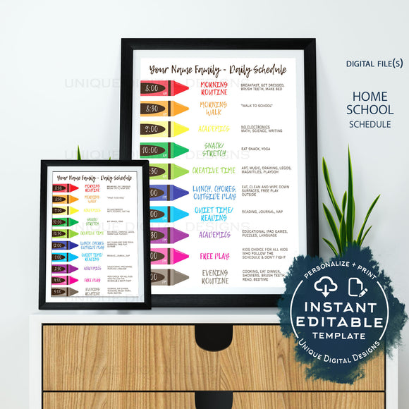 Editable Home School Daily Planner, Kids Customizable Schedule Chart, Rainbow Routine, Parent Teacher Printable Resource Aid, INSTANT ACCESS