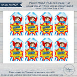 Valentine's Superhero Gift Tags, Editable Girls Super Non Candy Valentine Card Kid Class School Teacher Staff Printable Favor INSTANT ACCESS